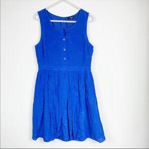 Madewell Silk Pleated Shirt Dress cobalt blue 6